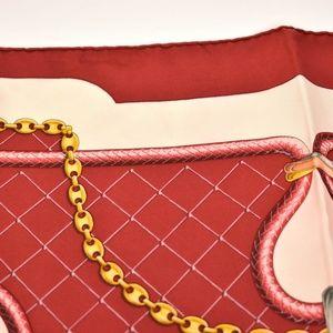 "Cartier Accessories - CARTIER: Red ""Chain/Crystals"" & Logo Silk Scarf mt"